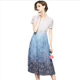 Vneck lace gradient A-line slim Fashion Dress