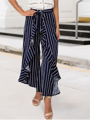 Ruffles Wide Leg Beach Striped Long Loose Pants