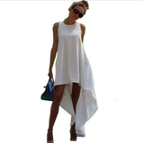 White Irregular Chiffon Loose Sleeveless Dress