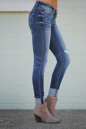 Fashion High Waist Worn Out Jeans
