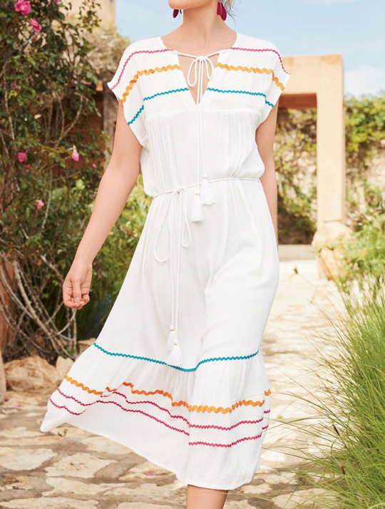 Striped belted beach boho midi dress
