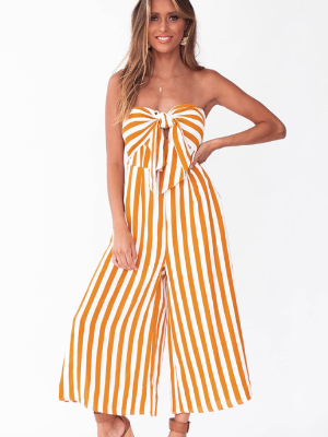 Striped cotton and linen strapless bow tie jumpsuit