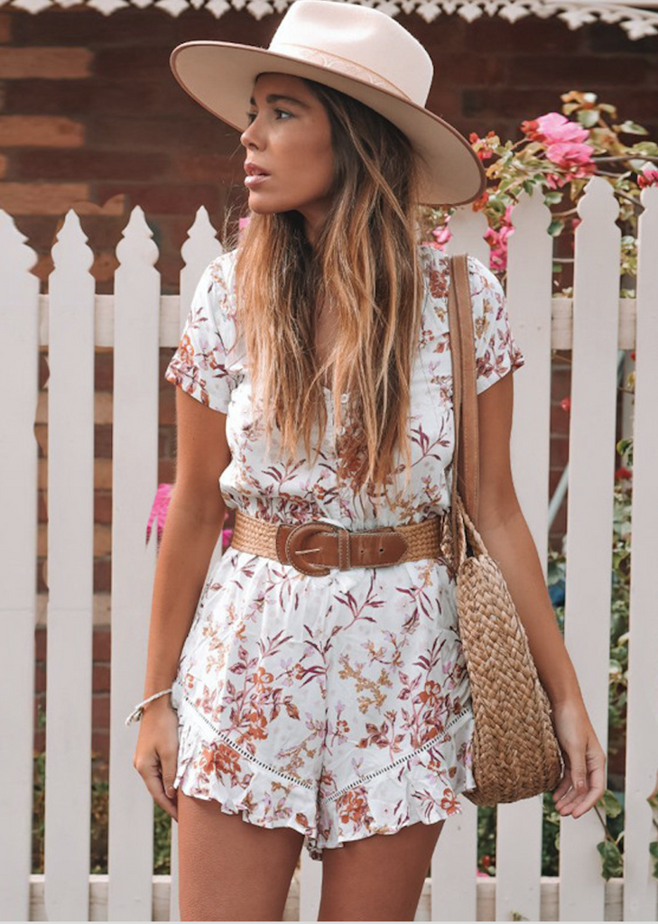 Lace printed holiday garden jumpsuit