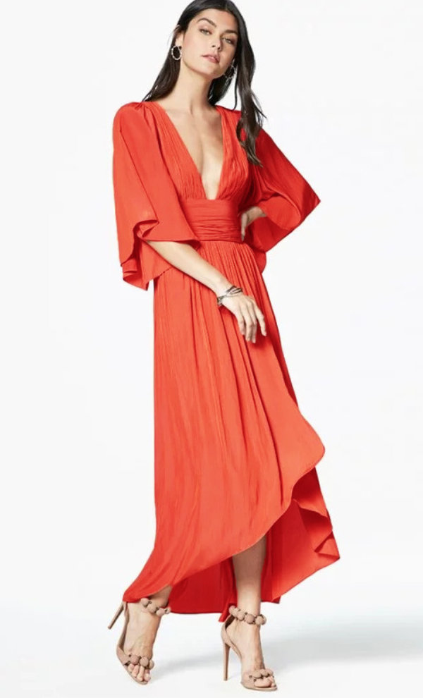 Cotton deep v-neck irregular Bohemian dress