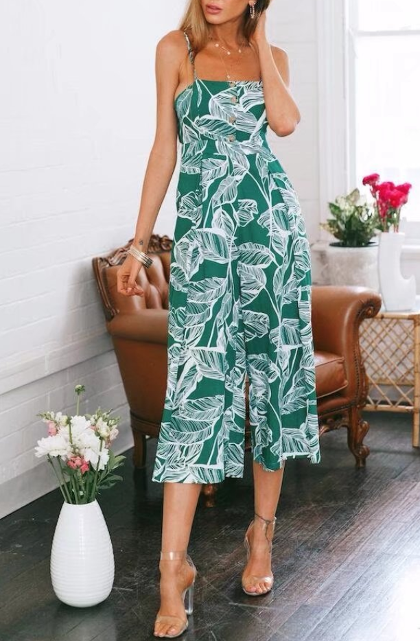 Cotton leaf vacation printed button jumpsuit