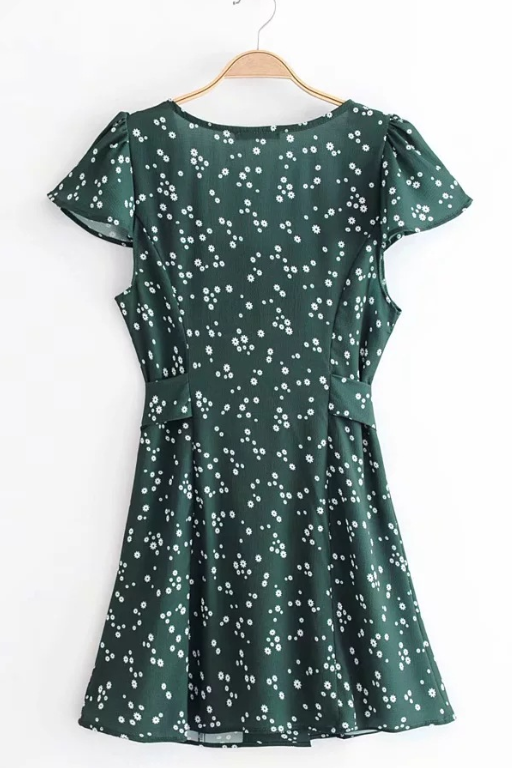 Gypsophila green button dress