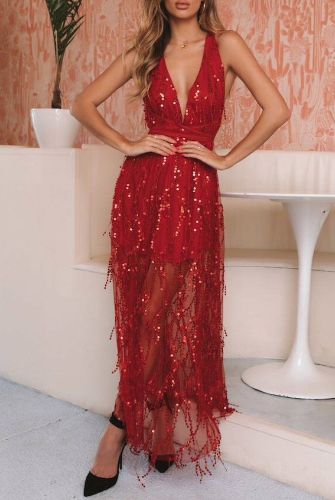Red sequined backless dress