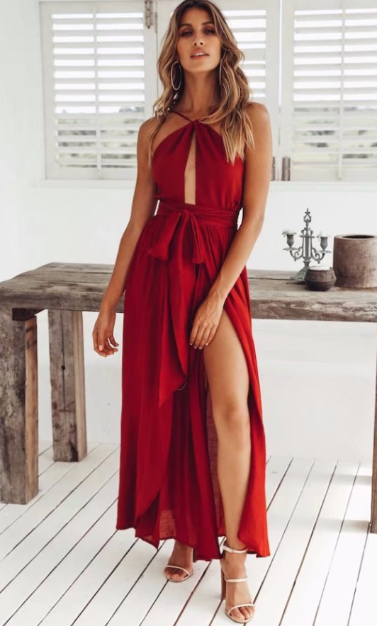 Halter strap solid color midi dress