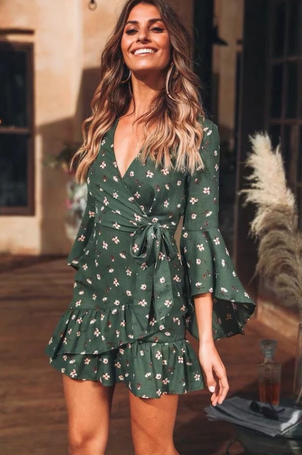 Flared sleeve floral Tie dress