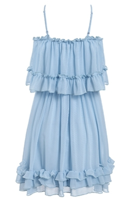 Sleeveless ruffled cake layered dress