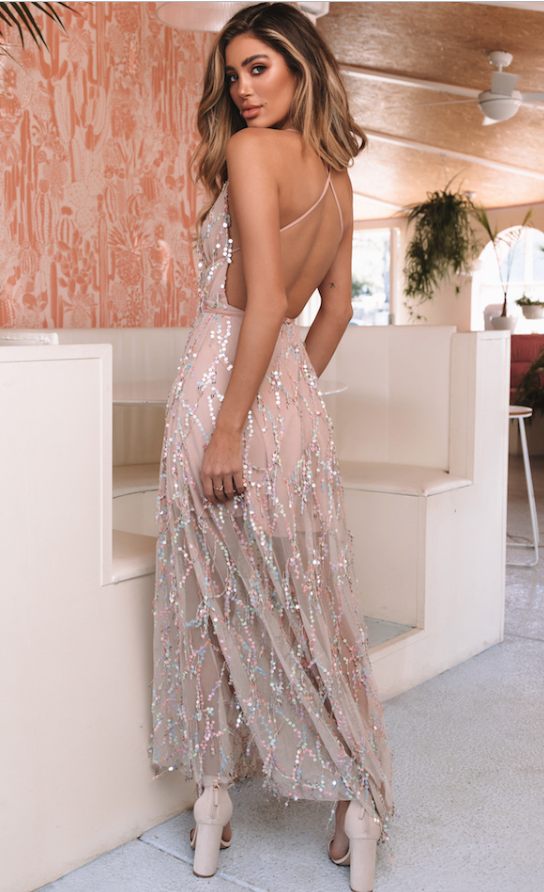 Pink sequined backless dress