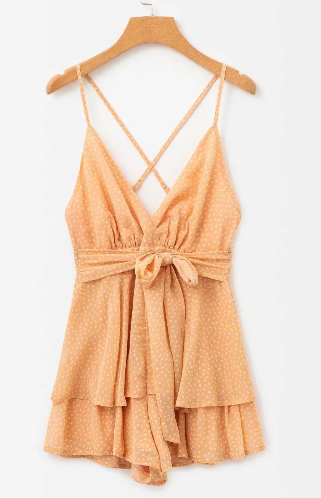 Orange Chiffon Polka Point Rompers
