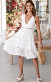 White lace boho V-neck midi dress