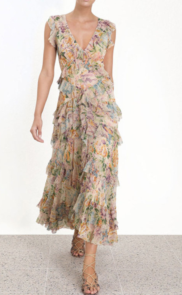 Chiffon multi-layer ruffle Halter Dresses