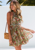 Green Bohemian Backless Lace Dress