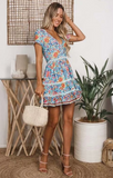 Boho V-neck print lace dress