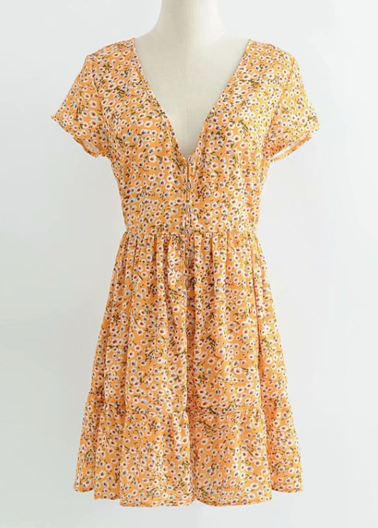 Yellow daisies button mini dress