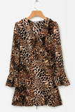 Leopard print flared sleeves dress