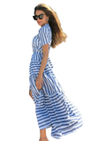 Blue striped Bohemian maxi dress