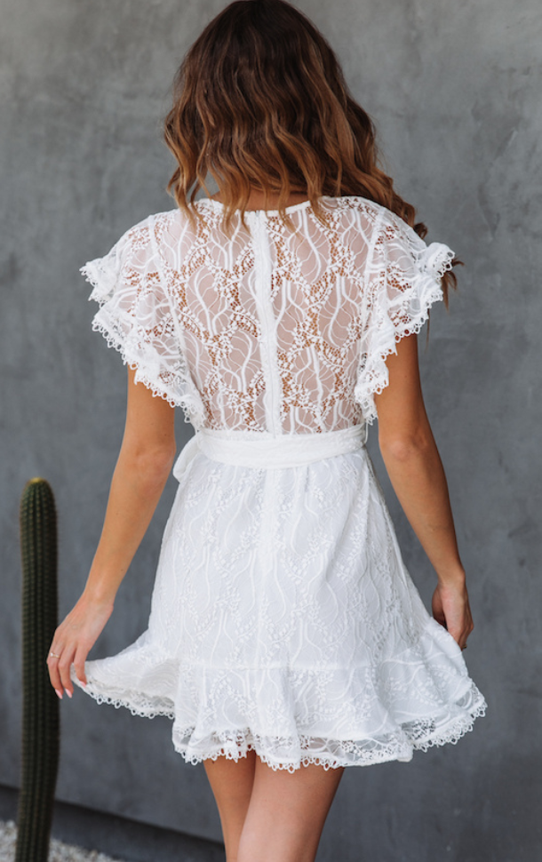 White Lace Dating Tie Dress