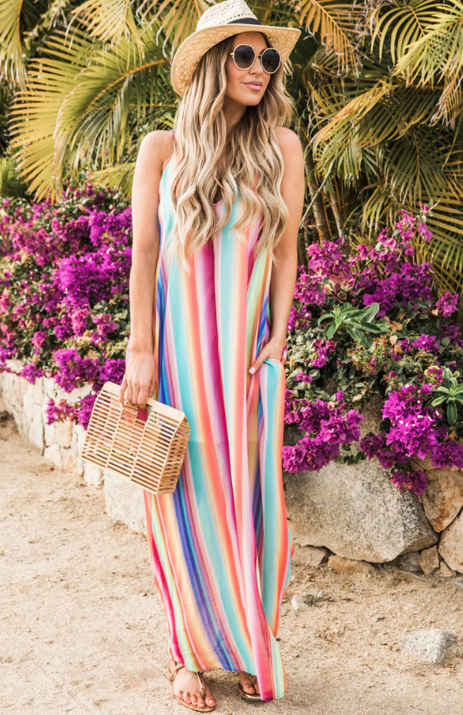 Rainbow Striped Beach Maxi Dress