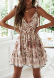 Cotton Floral Sleeveless Mini Dress
