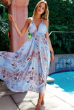 Blue Printed Bohemian Halter Dress