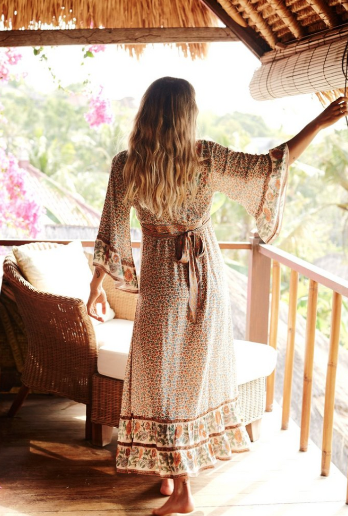 Bohemian Sunflower Trumpet Sleeve Dress