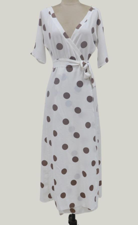 White Polka point Holiday Dress
