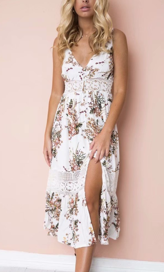 Lace Holiday Button Strap Dress