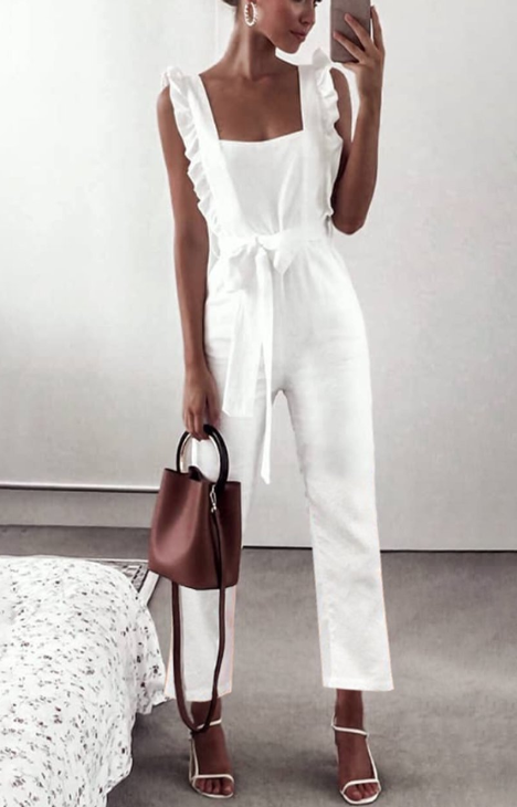 Cotton Fashion Holiday Tie Jumpsuit -3color
