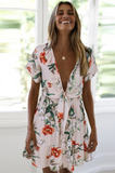 White Floral Rustic Style Mini Dress