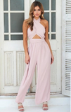 Chiffon Halter Backless Jumpsuit -2color