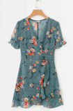Chiffon Floral Blue Puff Sleeve Mini Dress