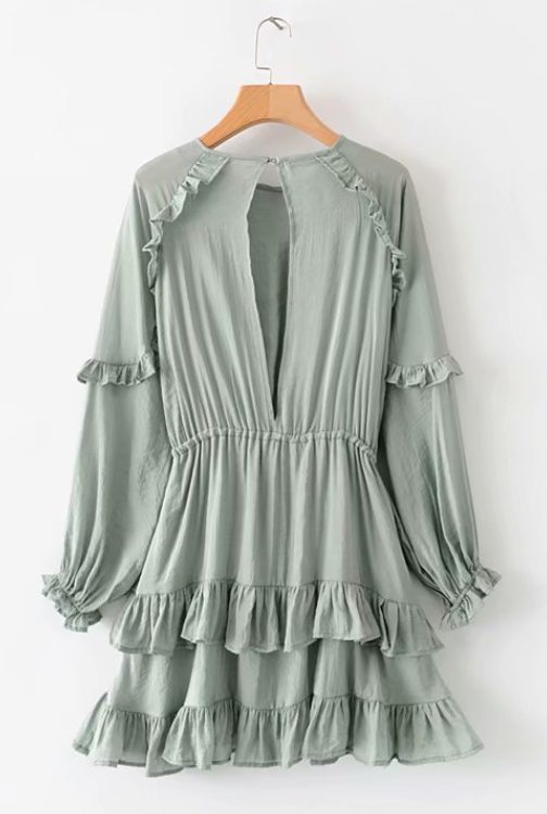Green Ruffled Cut-out Tie Dress