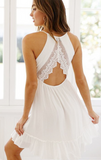 Summer White Lace Vest Mini Dress