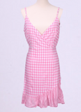 Pink Plaid Ruffled V-neck Strap Dress