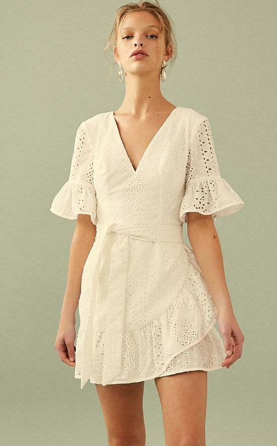 Cotton Vintage White Lace Halter Dress