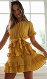 Holiday Off-the-shoulder Ruffled Tie Dress