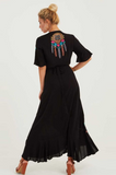 Cotton Embroidered Ruffled Stitching Bohemian Dress