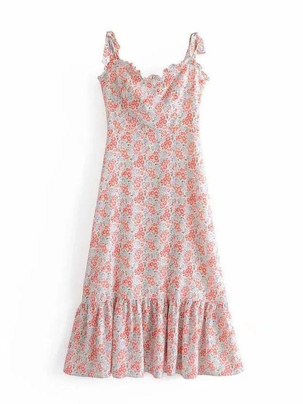 Floral Print Ruffled Tube Top Sling Dress