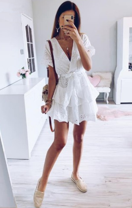 Cotton White Lace Embroidered Tie Dress