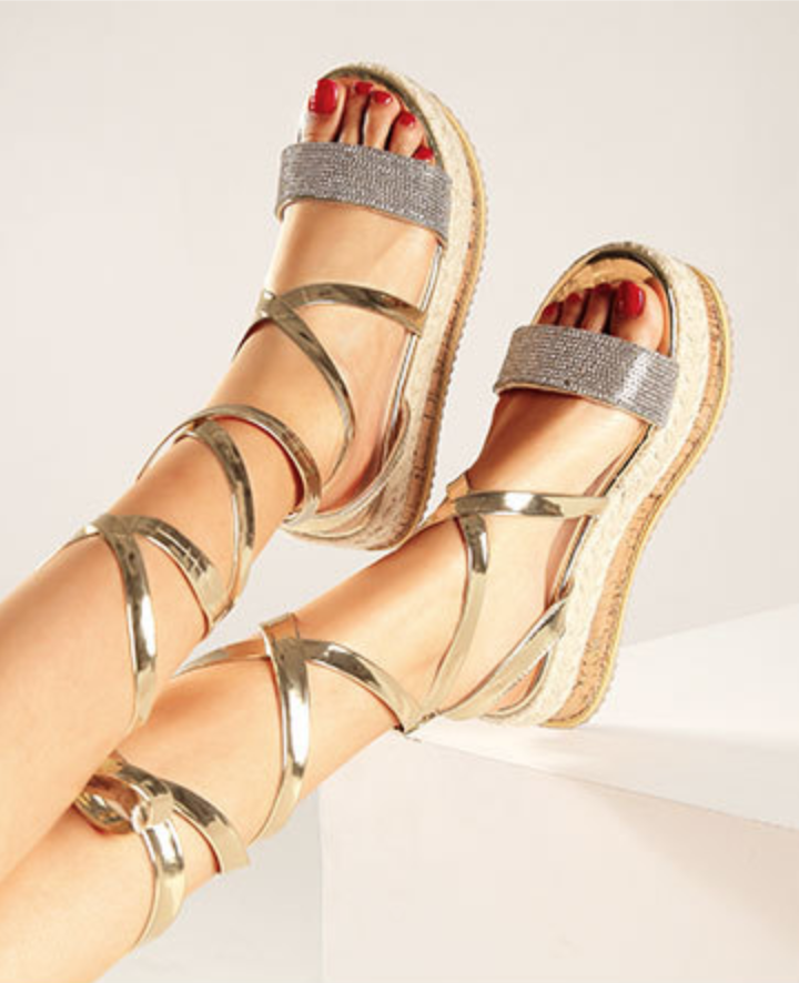 Shiny Lace-up Wedge Sandals-2color