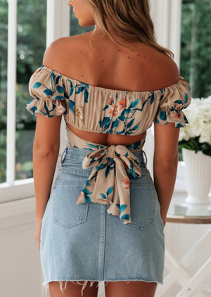 Off Shoulder Printed Short-sleeved Tie Top