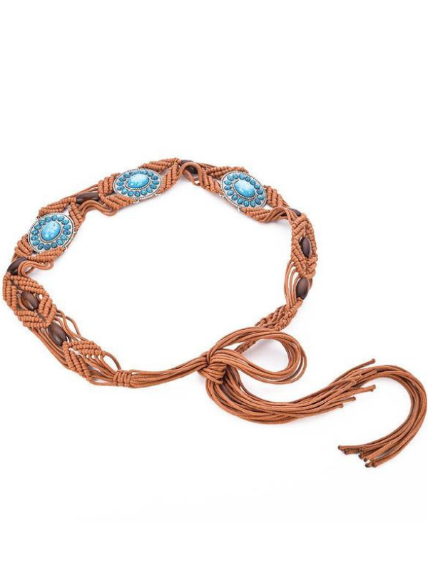 Wax Rope Weaving Handmade Ethnic Waist Chain-4color