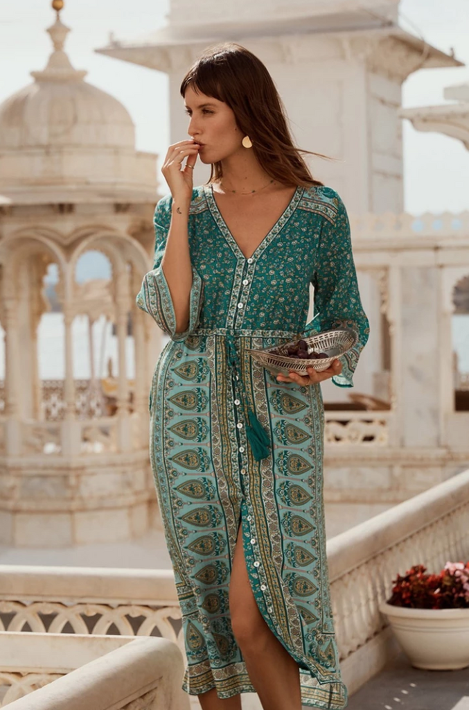 Bohemian Breasted Tassel Rhapsody Midi Dress