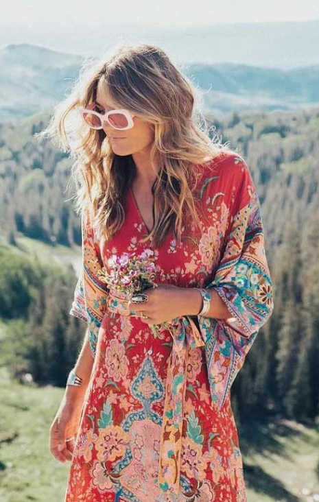 Red Flame Flower Bohemian Midi Dress