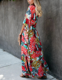 Red Leaf Bustling Vacation Maxi Dress
