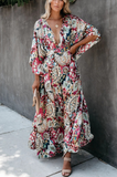 Leaf Bustling Irregular Boho Maxi Dress