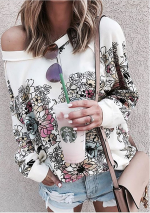 Printed Floral  Loose Sweatshirts-3color